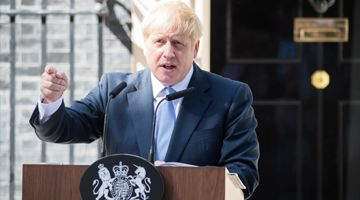 Boris Johnson, U.K. prime minister, delivers a speech outside 10 Downing Street.