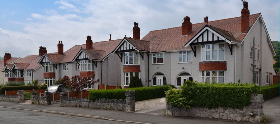 Traditional 1930s semi detached homes in a quiet residential area of Wales