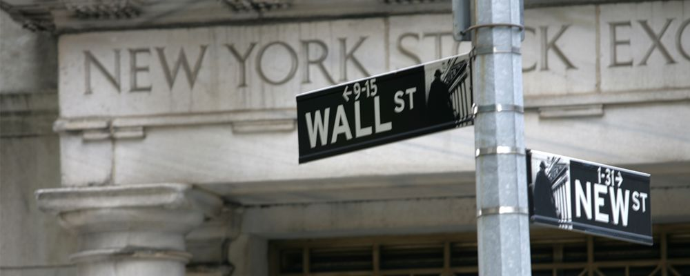A Wall Street street sign in New York City